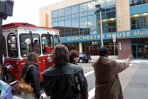 Improvements to the built environment include a new crosswalk at Dorchester House, site of the NIEHS community forum, which makes negotiating traffic safer for pedestrians