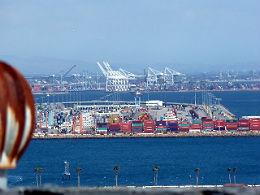 A large collection of shipping containers at the LA port