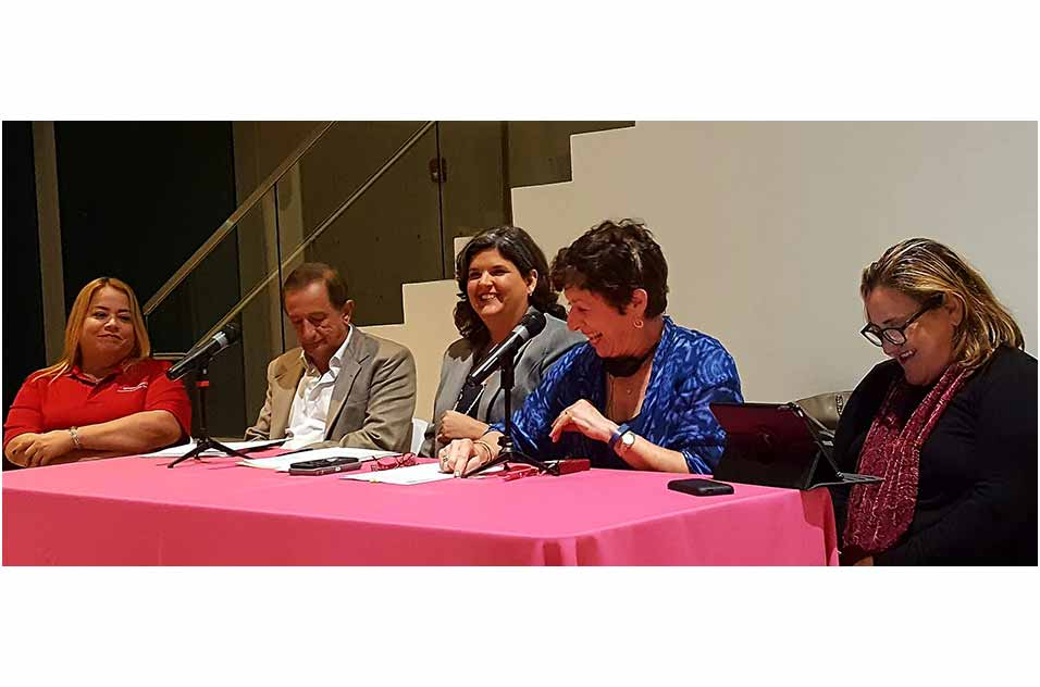Panelists at the community forum were, from left, Rivera, Rosario Guerro, Birnbaum, and Velez Vega. Moderator Padin is not shown.