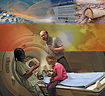Doctor and nurse with girl sitting on MRI bed