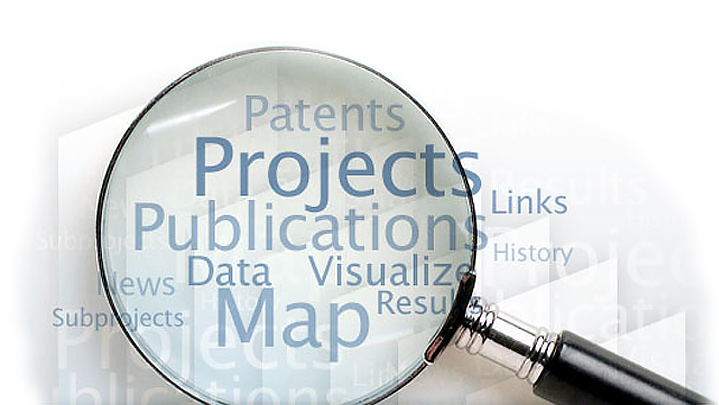 magnifying glass with the words Patents, Projects, Publications, Data, Map