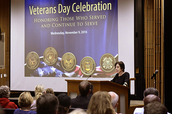 Linda Birnbaum Speaking at Veteran's Day Event