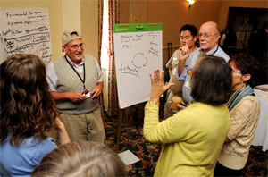 David Miller, Ph.D., in hat, serves as group leader for one of the group's helping to define what is meant by fundamental research. NIEHS staff from the Office of the Director, Division of Extramural Research and Training, and the Division of Intramural Research (DIR) provided input.