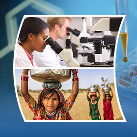 scientist looking in microscopes and young girls carrying water pots on their heads
