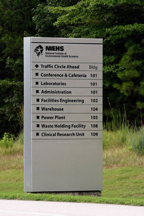 NIEHS directions sign