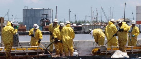 A decontamination unit at a port