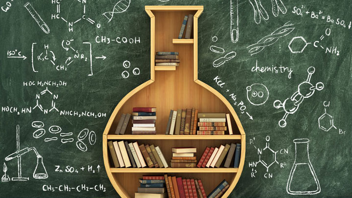 Bookcase in the shape of a chemistry beaker