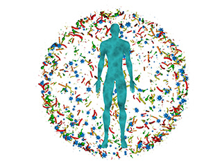 Male body,man surrounded by microbiome spherical cloud of bacteria, viruses, microbes.