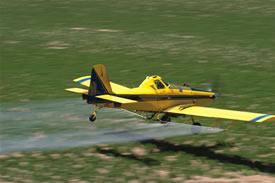 Airplane spraying pesticides