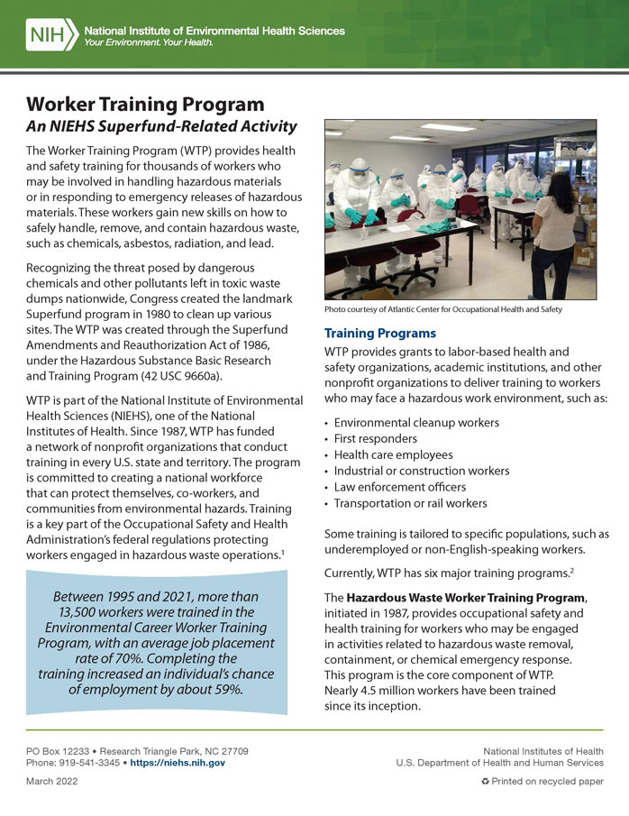 Worker Training Program cover page