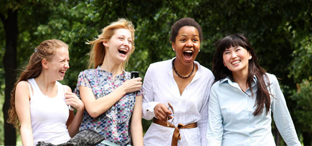 group of teenage girls laughing