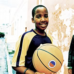 Boy holding a basketball