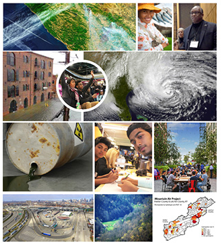 Collage of R2A public events and various natural disasters including oil spill, traffic, hurricanes and flooding