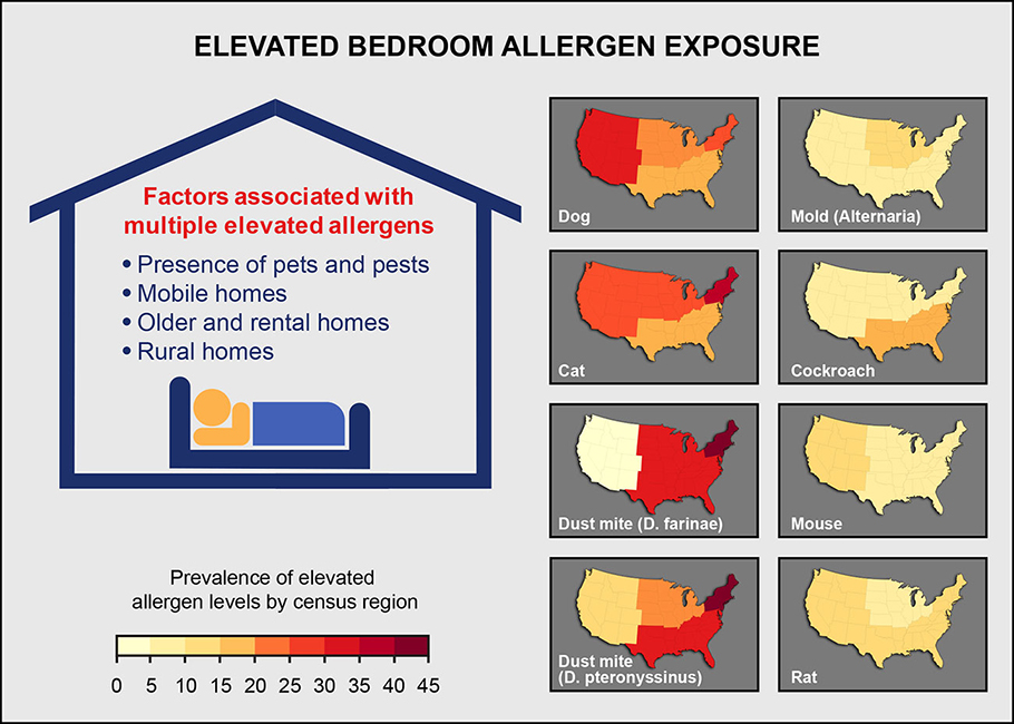 Factors associated with multiple elevated allergens, presence of pets and pests, mobile homes, older and rental homes and rural homes