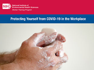 NIH/Protecting Yourself from COVID-19 in the Workplace, two hands holding a soap bar with lather