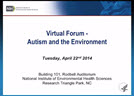 Virtual Forum on Autism and the Environment