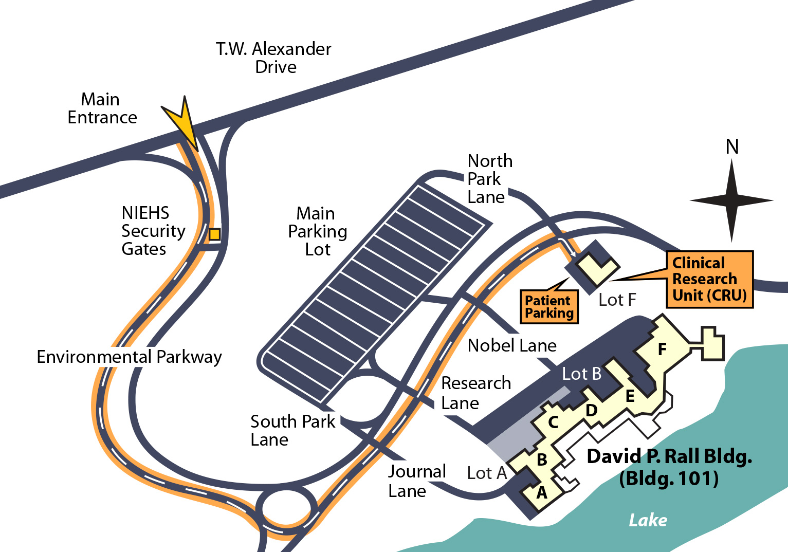 NIEHS map showing parking and CRU building