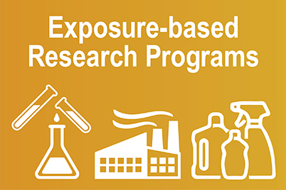 Exposure-based Research Programs, test tubes & flask, smokestacks, and cleaning products