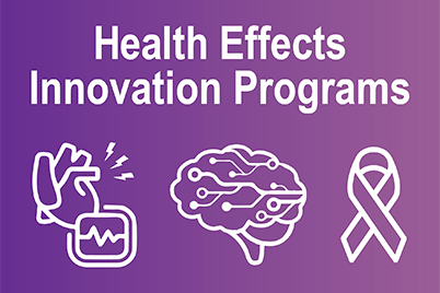 Health Effects Innovation Programs, heart connected to a monitor, brain, and cancer ribbon