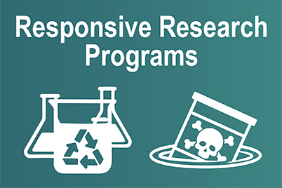 Responsive Research Programs, beaker showcasing green chemistry and toxic waste drum sinking