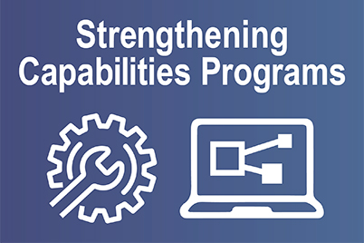 Strengthening Capabilities, settings icon and laptop