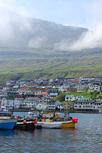 Boats docked at the Faroe Islands