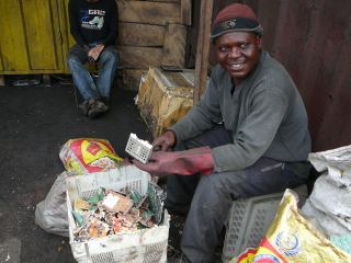 Agbogbloshie e-waste site worker