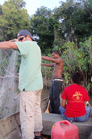 Research team collecting fish in Suriname