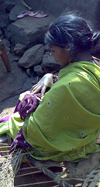 Young mother holdeing her child in India