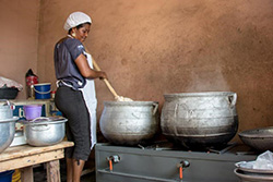 Woman cooking with a clean cooking stove