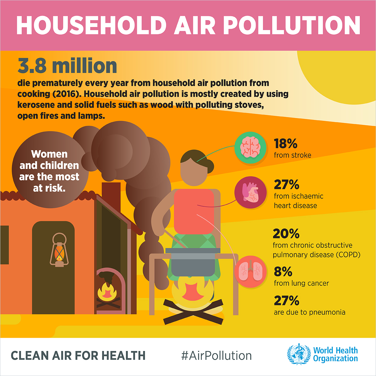 Household Air Pollution 3.8 million die prematurely every year from household air pollution from cooking