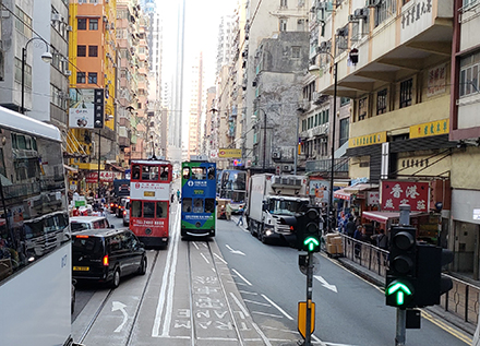 busy street in Hong Kong, China