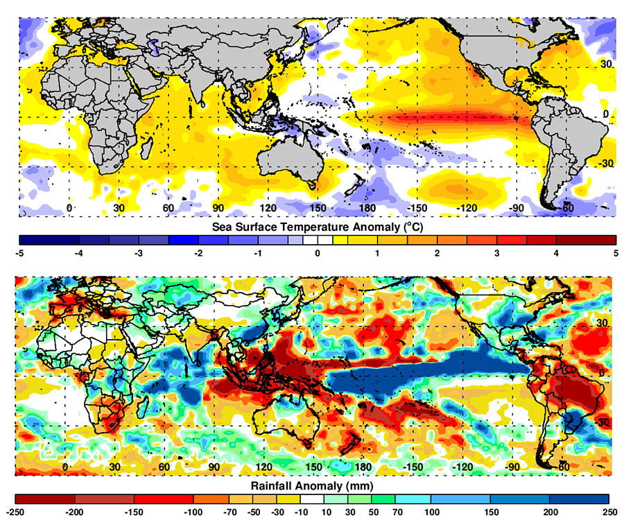(B-upper image) December-February 2015/16 global mean SST anomalies during the peak ENSO season. (C- lower) May-July 2016 cumulative rainfall anomalies during the ENSO early phase