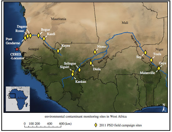 Map of the study area and monitoring sites where Anderson and colleagues deployed passive sampling devices in the water of the canals and drainage areas within the Senegal, Niger, and Bani Rivers and their watersheds