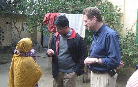 Dr. Omar Sharif and Christiani talk to Bangladeshi woman