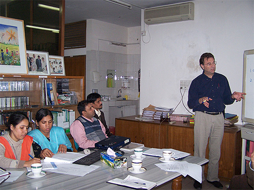 Christiani presenting at Dhaka Community Hospital
