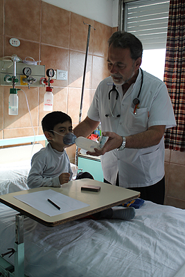 doctor with a young child