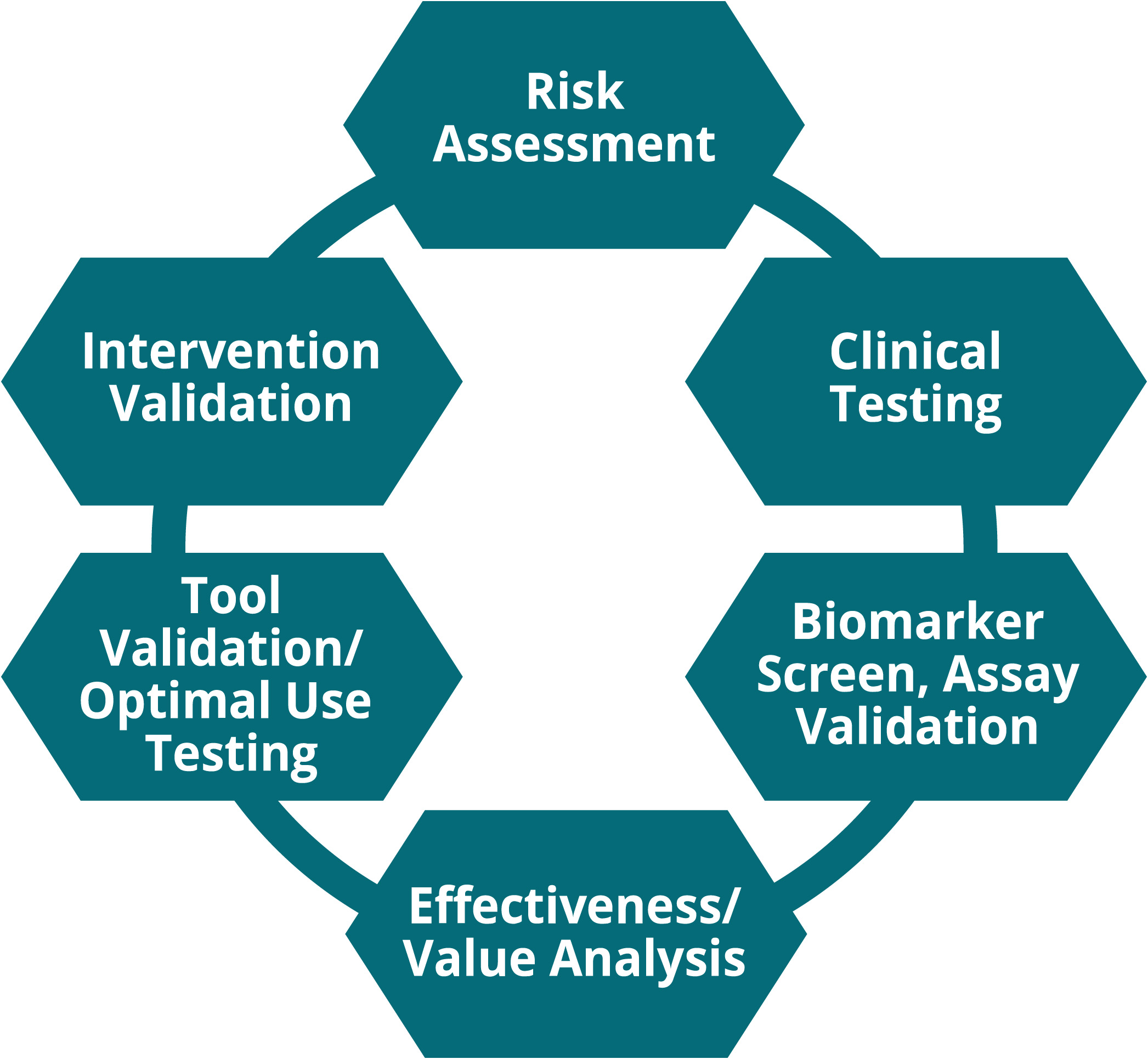 The implementation and adjustment category is represented as a green ring that includes seven activities that we've identified that environmental health researchers tend to conduct within this category. These activities are represented as nodes along the ring and include Effectiveness or Value Analysis, Tool Validation and Optimal Use Testing, Intervention Validation, Risk Assessment, Clinical Testing, and Biomarker Screen or Assay Validation.
