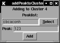 New window to specify which peak to add to the cluster