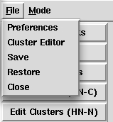 File dropdown with preferences, cluster editing, save, restore and close options