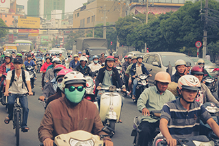 people on motorbikes in vietnam