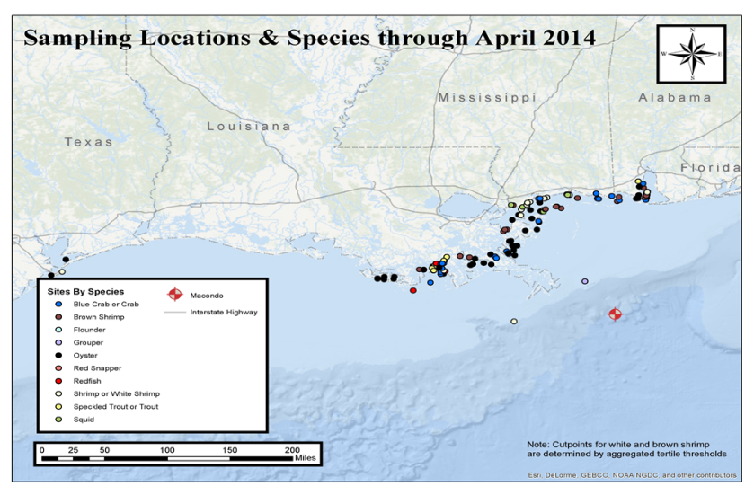 Gulf Coast Sampling Locations and Species through April 2014