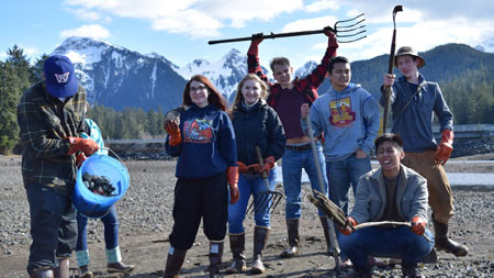 Pictures shows interns out collecting shellfish