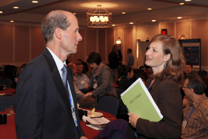 SRP Program Administrator Heather Henry talking with UK Program Director Bernie Hennig