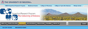 Screenshot of the University of Arizona Superfund webpage