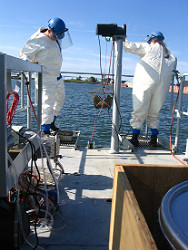 Scientists on boat
