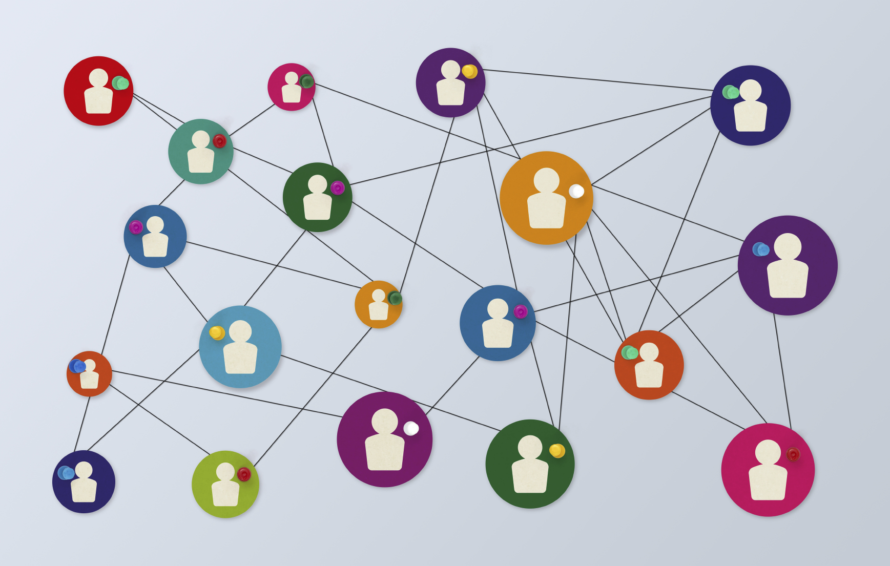 Information graphic depicting a network of people