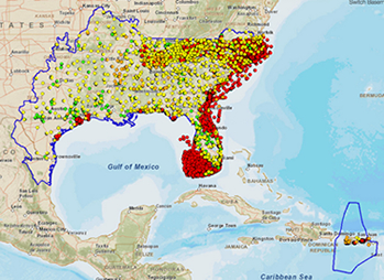 map of southeastern USA with monitoring sites identified