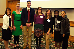 The 2013 KC Donnelly Externship awardees gave presentations describing the research and findings that resulted from their externships. From left: Danielle Carlin, Ph.D., joined KC Donnelly winners Erin Madeen, James Rice, Ph.D., Audrey Bone, Shoreh Farzan, Ph.D., Leah Chibwe, and Vanessa De La Rosa.