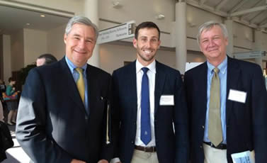 Sen. Whitehouse (left) with invited attendees Rice (center) and Suuberg (right).